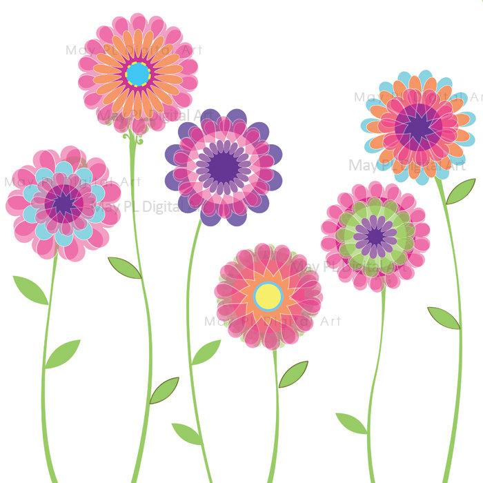 Pink Flowers Spring Flowers Decoration Clipart By Maypldigitalart