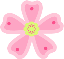 Pink Green Flower - Pink Flowers Clipart