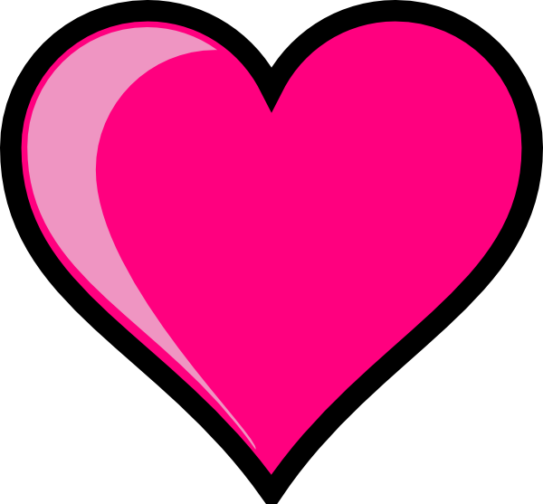pink heart outline clipart