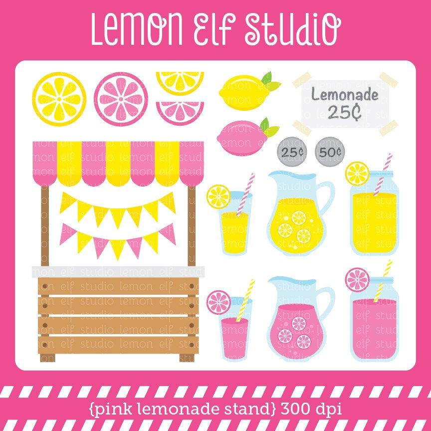 Pink Lemonade Stand-Digital Clipart (LES-Pink Lemonade Stand-Digital Clipart (LES.CL15), Cliparts - Lemon Elf-18