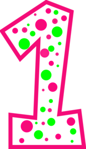 Pink Number 1 Clipart. Number 1 Pink And Green Polkadot