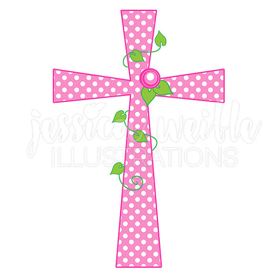 Pink Polka Dot Rose Cross Cut - Pink Cross Clip Art