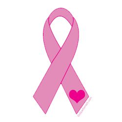 Pink Ribbon with Heart Clip Art