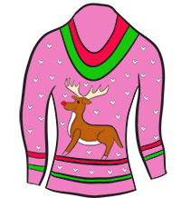 Pink rudolph sweater clipart