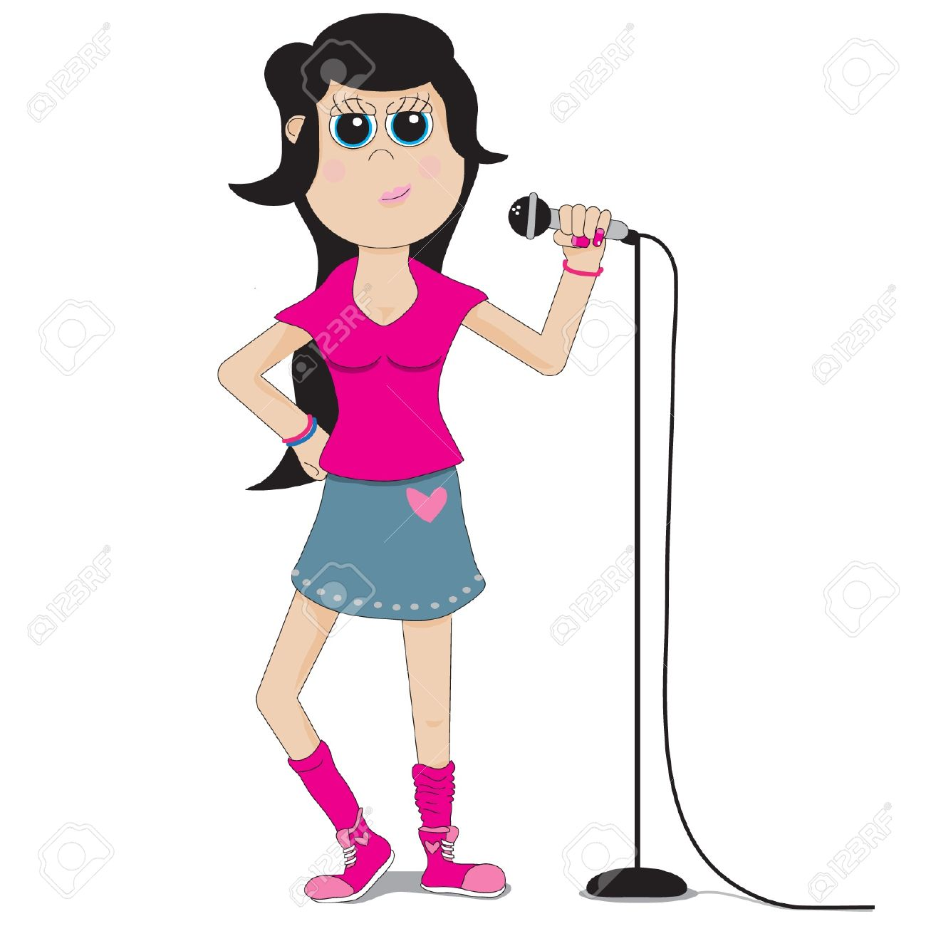 Cartoon Teen Girl Singer Wearing A Pink -Cartoon teen girl singer wearing a pink shirt holding a microphone on a  microphone stand Stock-7
