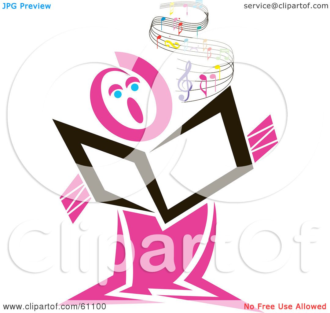 Royalty-free (RF) Clipart Illustration of a Pink Singer Holding A Book,  With Flowing Sheet Music by pauloribau