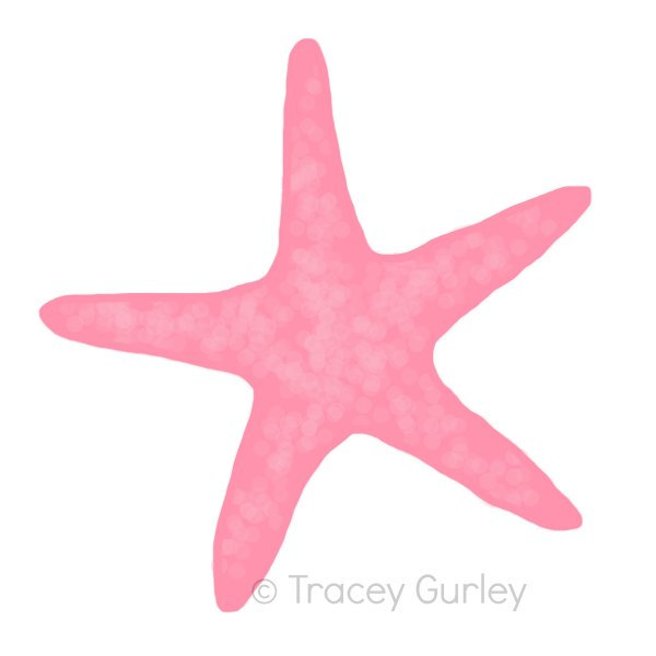 Pink Starfish - Original art download, 2 files, starfish clip art, beach art, pink starfish art
