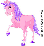 ... Pink Unicorn - Vector Illustration of beautiful pink.
