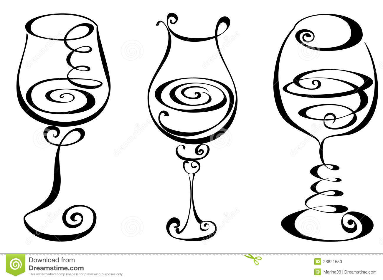 Pink Wine Glasses Clip Art Set Stylized Wine Glass