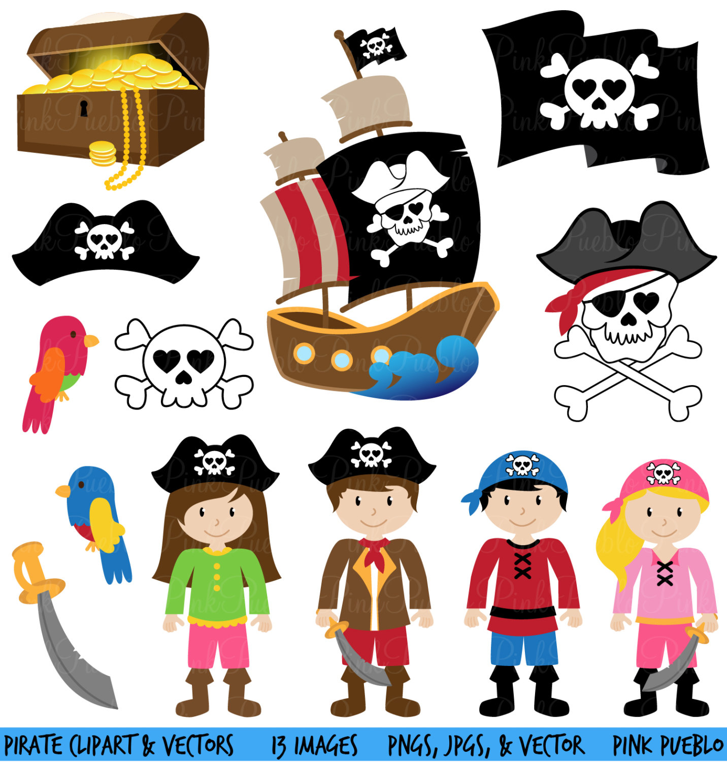 Pirate Clipart Clip Art And Vectors Commercial And By Pinkpueblo