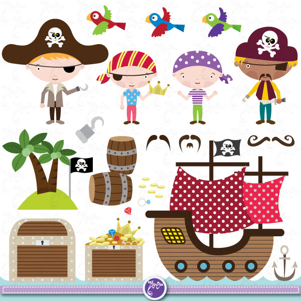 Pirate Clipart Clip Art Set Cute Pirate,-Pirate Clipart Clip Art Set cute pirate, pirate clip art for perfect for Scrapbook, Cards, Invitations,Personal and Commercial Use Ch003-10