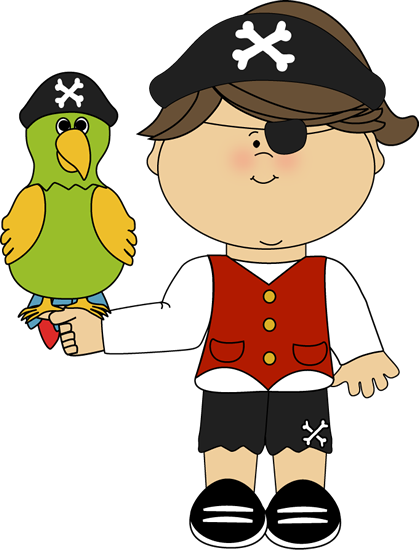 Pirate Girl with a Parrot - Pirate Clip Art Free