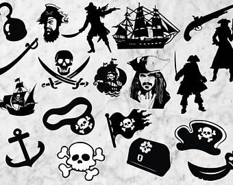 Pirates Svg Silhouette, Pirates Cut files, Clip art, t shir design, Pirate