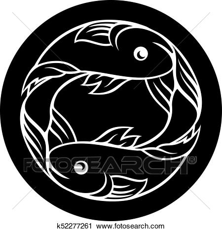 Circle Pisces fish horoscope astrology zodiac sign icon