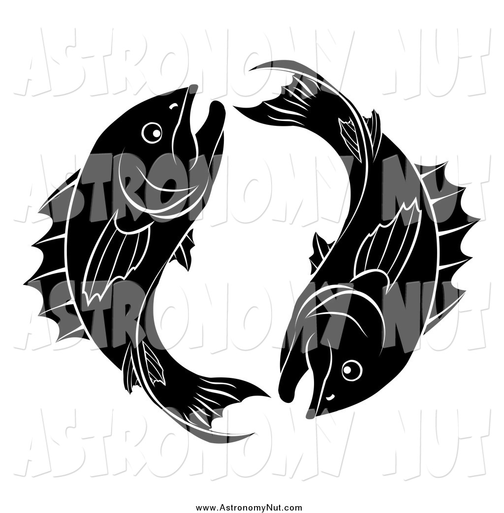 Clipart of a Black and White Astrology P-Clipart of a Black and White Astrology Pisces Zodiac Fish-17