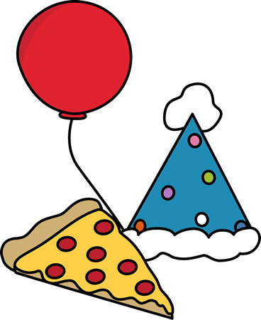 Pizza Party Clip Art Image - slice of pizza with a balloon and party hat