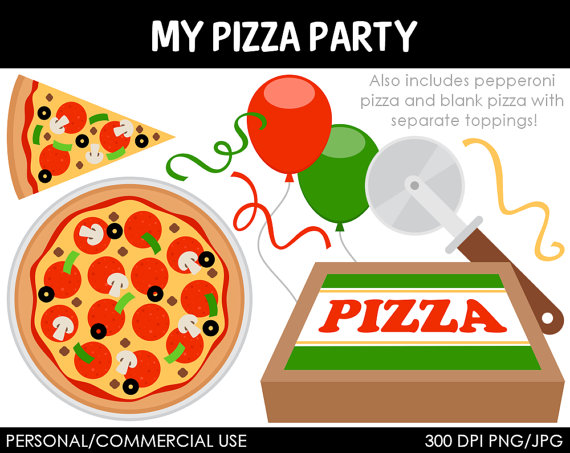 Pizza Party Clipart Digital .