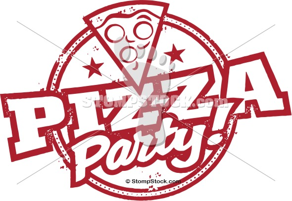 Pizza Party Stamp Clip Art .