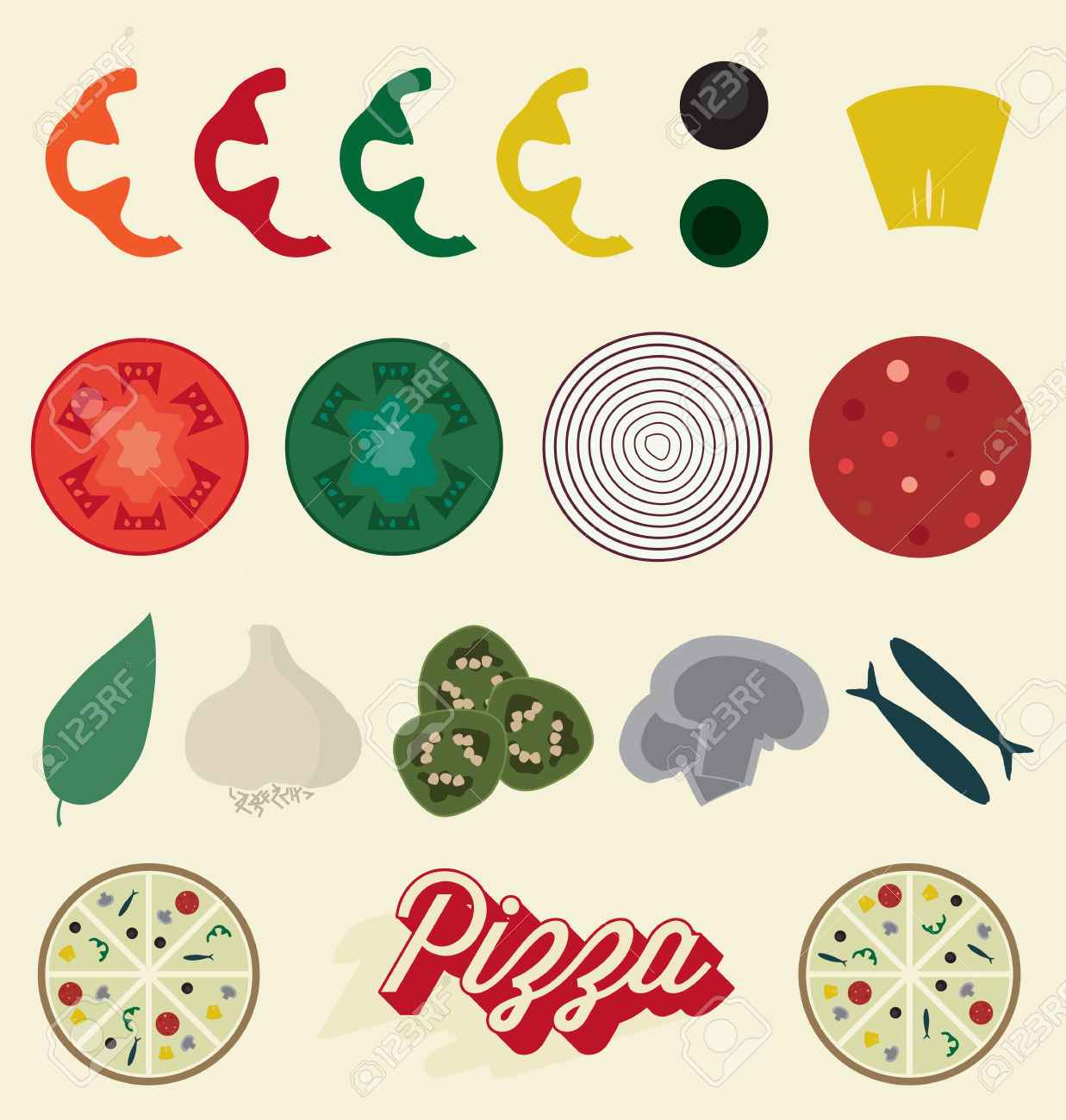 pizza topping: Pizza Toppings Collection Illustration