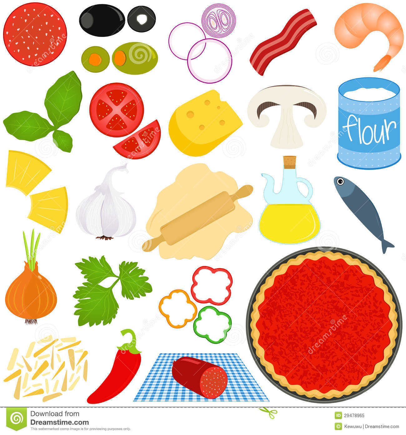 Pizza Toppings Clipart Ingredients To Make Pizza