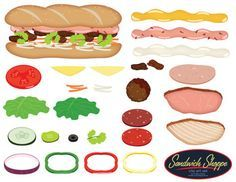 pizza toppings templates | Build a sandwich clip art: Sandwich Shoppe Clip Art Set -