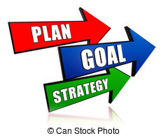 ... Plan, goal, strategy 3d colorful arrows with text