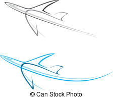 ... Plane, airliner - Flying airplane - stylized vector.
