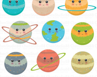 Planet clipart vector - Digital Clipart - Instant Download - EPS, PNG files included
