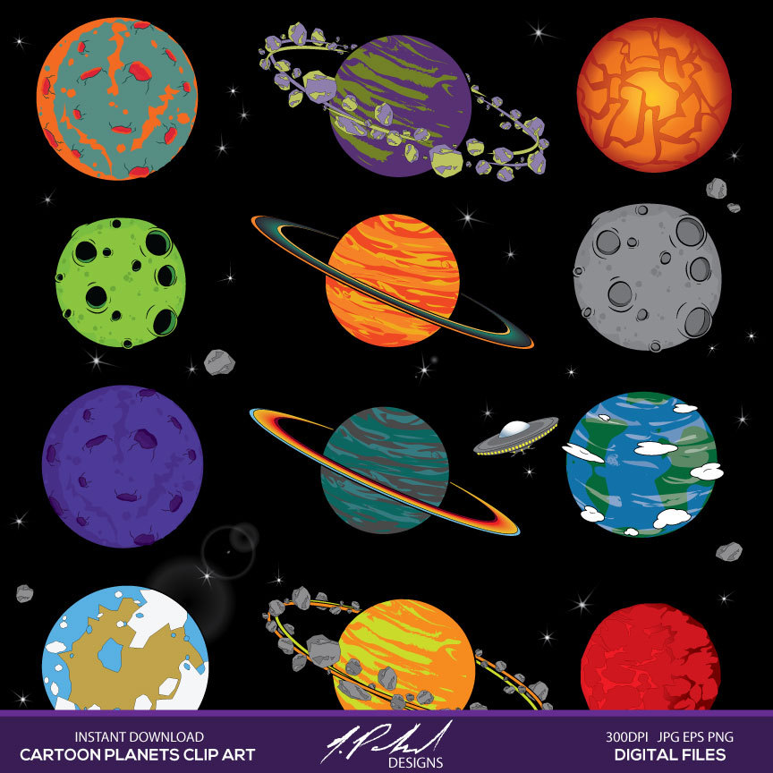 Planets and Space instant download digital clip art - space clipart