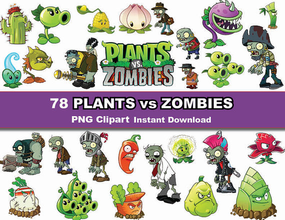 Instand DL -78x Plants VS Zombies clipar-Instand DL -78x Plants VS Zombies clipart - printable Digital Clipart  Graphic Instant Download from PishPesh2 on Etsy Studio-7