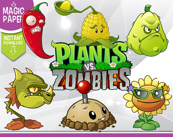 Plants vs Zombies Clipart - Digital 300 -Plants vs Zombies Clipart - Digital 300 DPI PNG Images, Photos, Scrapbook,  Digital, Cliparts - Instant Download from MagicPaperShop on Etsy Studio-12