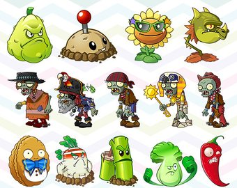 Plants vs Zombies Clipart, Plants vs Zom-Plants vs Zombies Clipart, Plants vs Zombies PNG Files, Printable Clipart,  Transparent Background-18