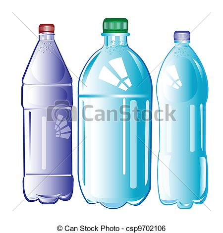 Plastic bottles with water .