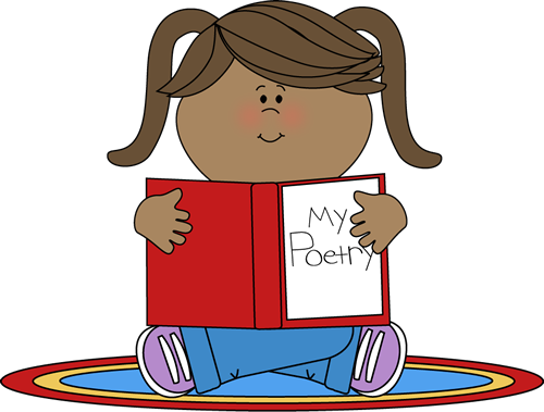 Poetry Center Clip Art Image - girl sitt-Poetry Center Clip Art Image - girl sitting on a rug with a poetry folder in her lap.-2