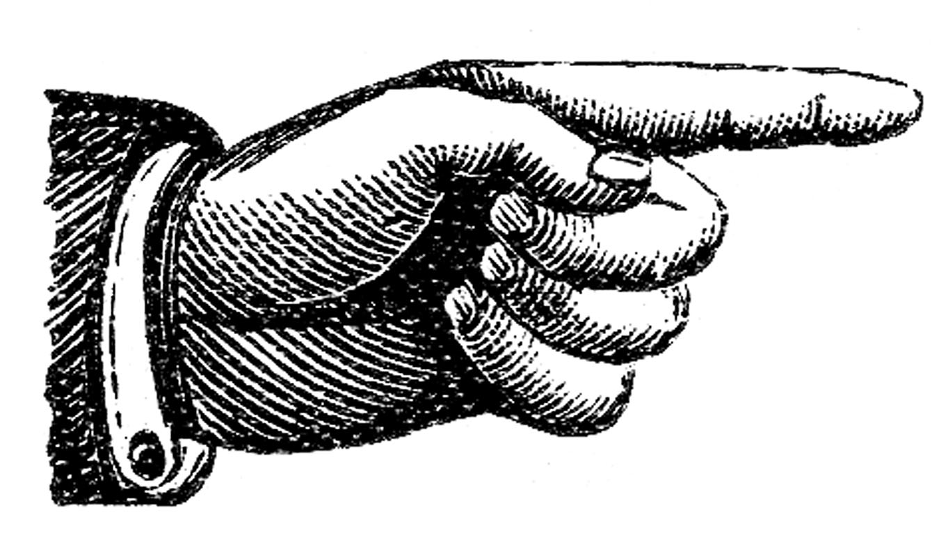 Pointing finger victorian cli - Pointing Finger Clipart