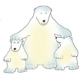 ... polar bear clip art with cubs color