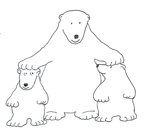 ... polar bear clip art with cubs sketch