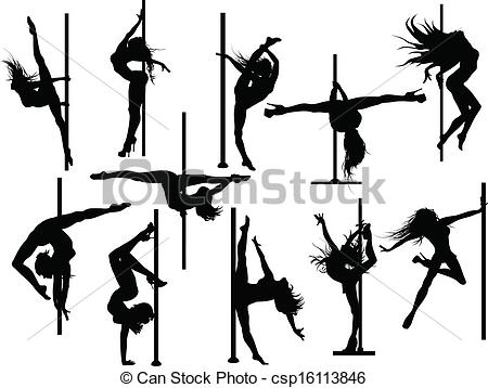 ... Pole dancer silhouettes. Vector set