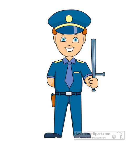 Police Officer Clip Art. male police officer holding a .