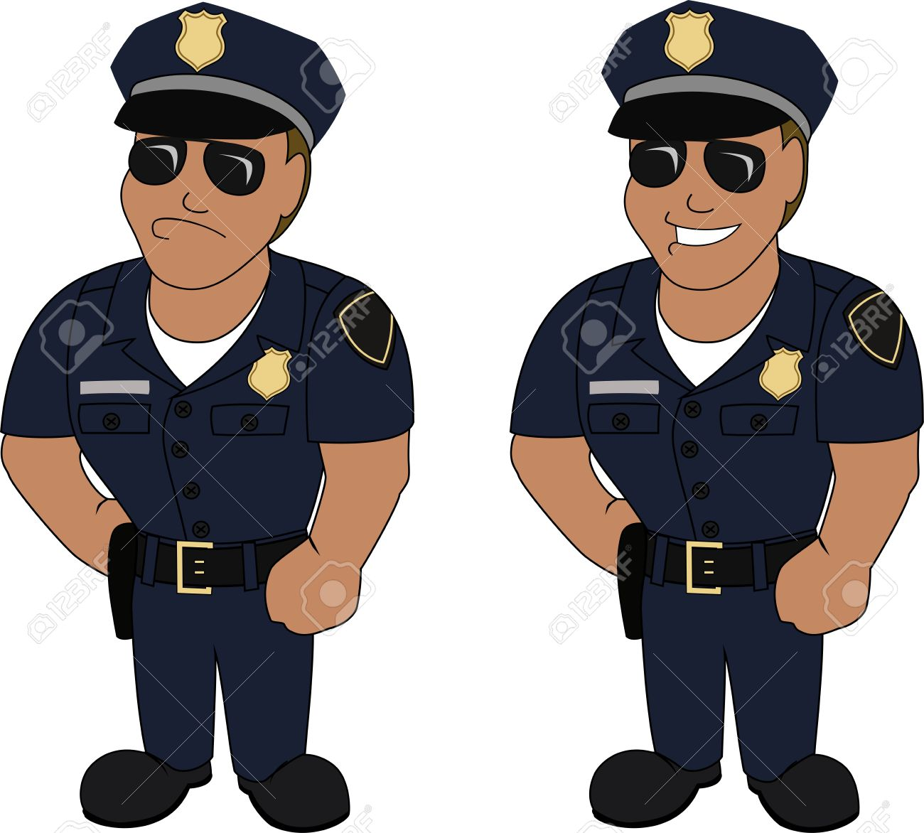 police officer: Smiling and .