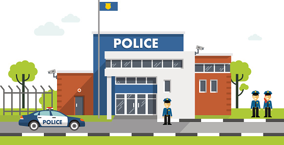 Police station building isolated on whit-Police station building isolated on white background vector art illustration-3