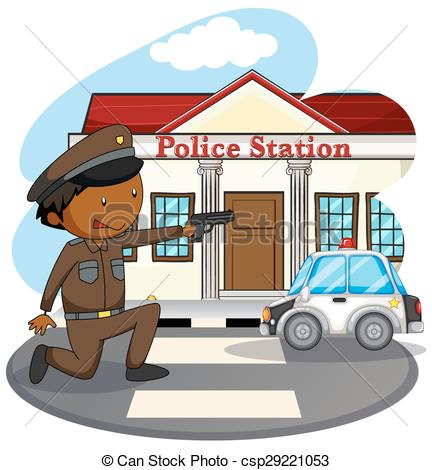 ... Police station - Policeman in uniform and police station