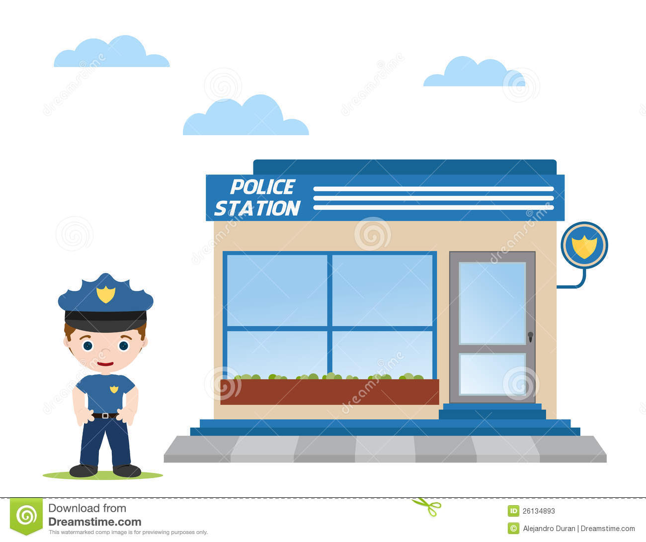 Police Station With Police Officer In Front