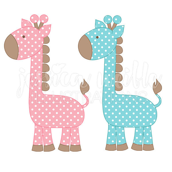 Polka Dot Giraffe Cute Digital Clipart, Cute Giraffe Clip art, Baby Giraffe Graphics, Pink and Blue Baby Giraffe Illustration, #115