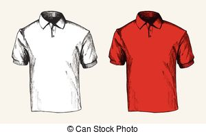 . ClipartLook.com Polo Shirt - Sketch illustration of a white and red polo.