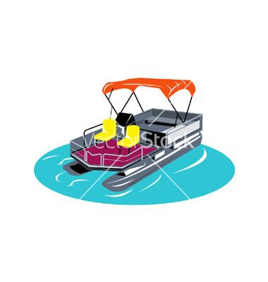 Pontoon Boat Retro Vector-Pontoon boat retro vector-11
