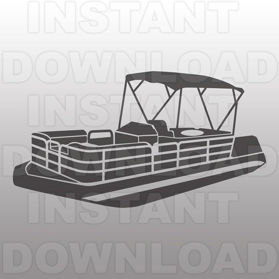 Pontoon Boat SVG File,Boating - Pontoon Boat Clip Art