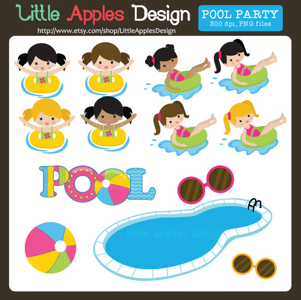 Pool Clip Art / Pool Clipart / Pool Part-Pool Clip Art / Pool Clipart / Pool Party Clip Art / Pool Party Clipart / Pool Party Digital Images / Commercial u0026amp; Personal-8