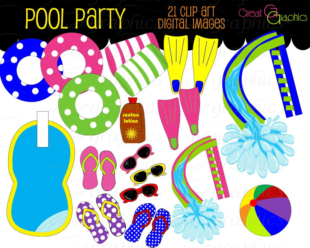 Pool Party Clip Art, Digital Pool Party,-Pool Party Clip Art, Digital Pool Party, Digital Clip Art, Pool Party Clipart, Swimming Pool, Flip Flops, Instant Download-11
