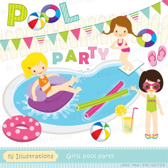 Pool Party Clip Art, Digital